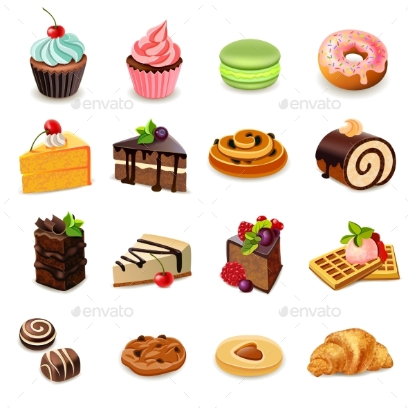 GraphicRiver Cakes Icons Set 11468818