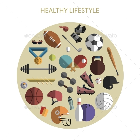 GraphicRiver Sport Accessories Icons Composition Circle 11468820