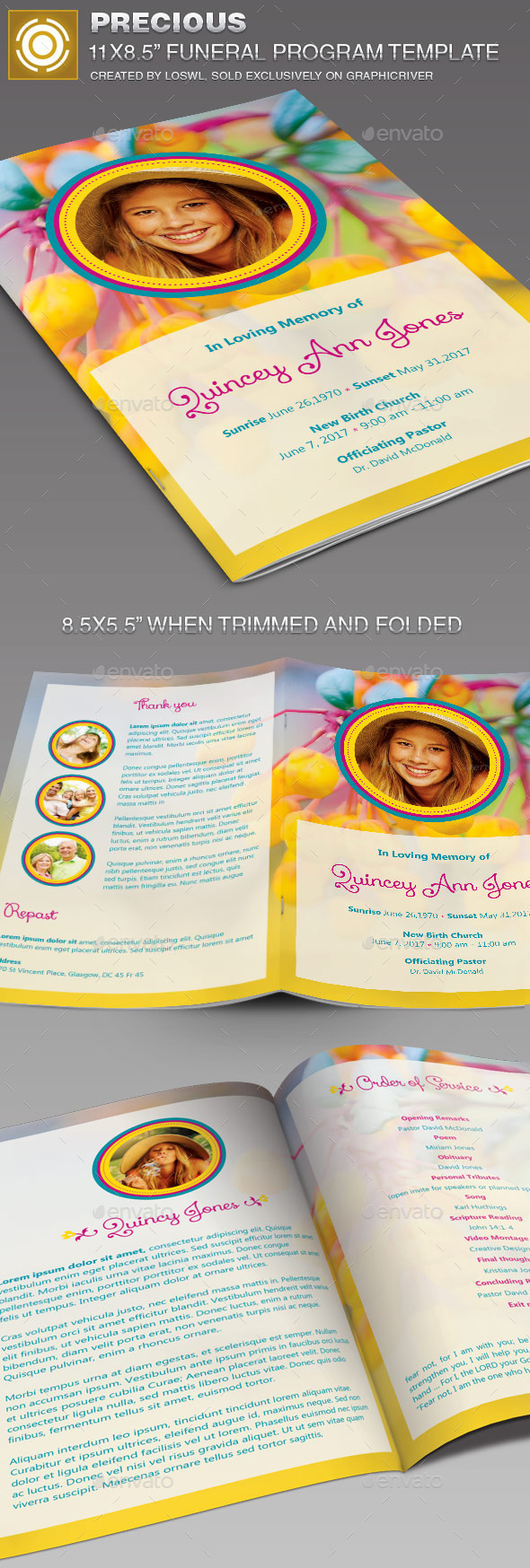 GraphicRiver Precious Funeral Program Template 11468840