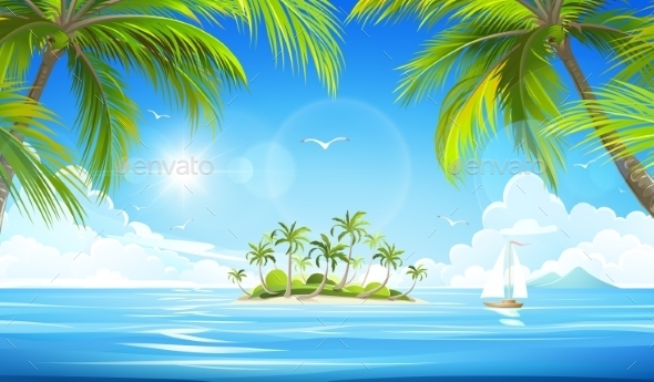 GraphicRiver Tropical Island Vector 11468846