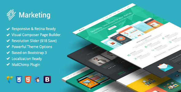 ThemeForest Marketing Startup Landing Page Bootstrap WP 11402808