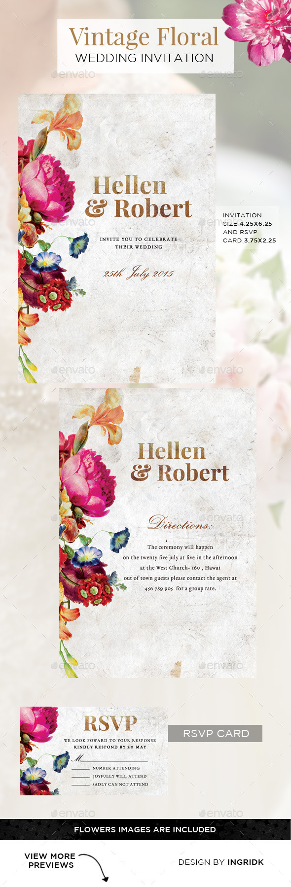 GraphicRiver Vintage Floral Wedding Invitation with RSVP Card 11469033