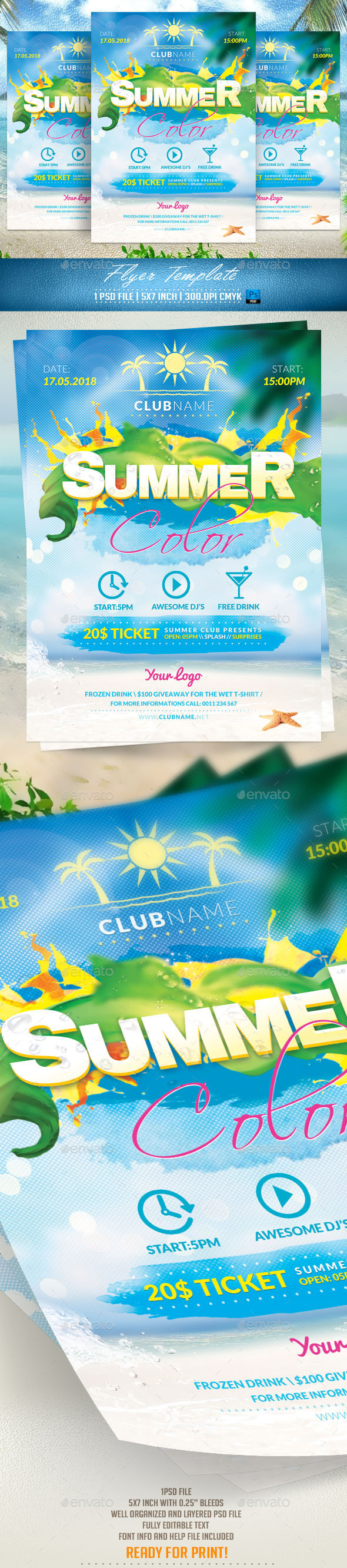 GraphicRiver Summer Color Flyer Template 11469118