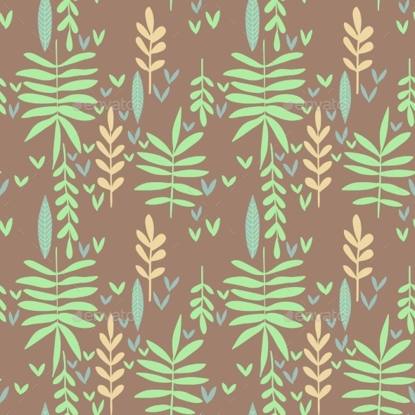 GraphicRiver Seamless Pattern With Green Leaves 11469266
