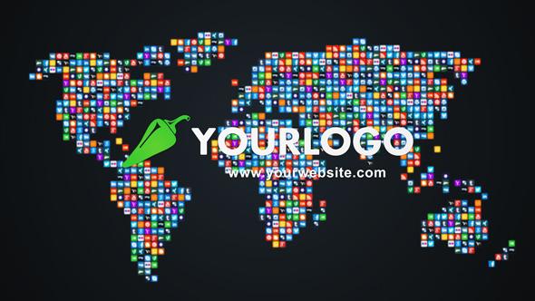 AE模板:社交网络图标 企业公司logo标志汇聚成世界地图模板 免费下载