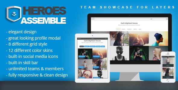 CodeCanyon Heroes Assemble Team Showcase for Layers 11469747