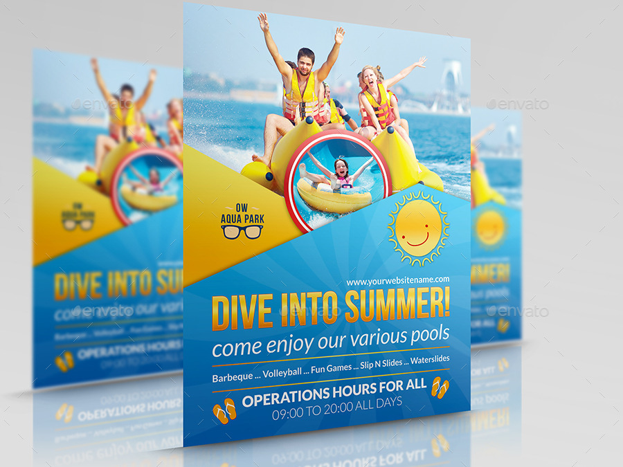 Aqua Park Flyer Template by OWPictures | GraphicRiver