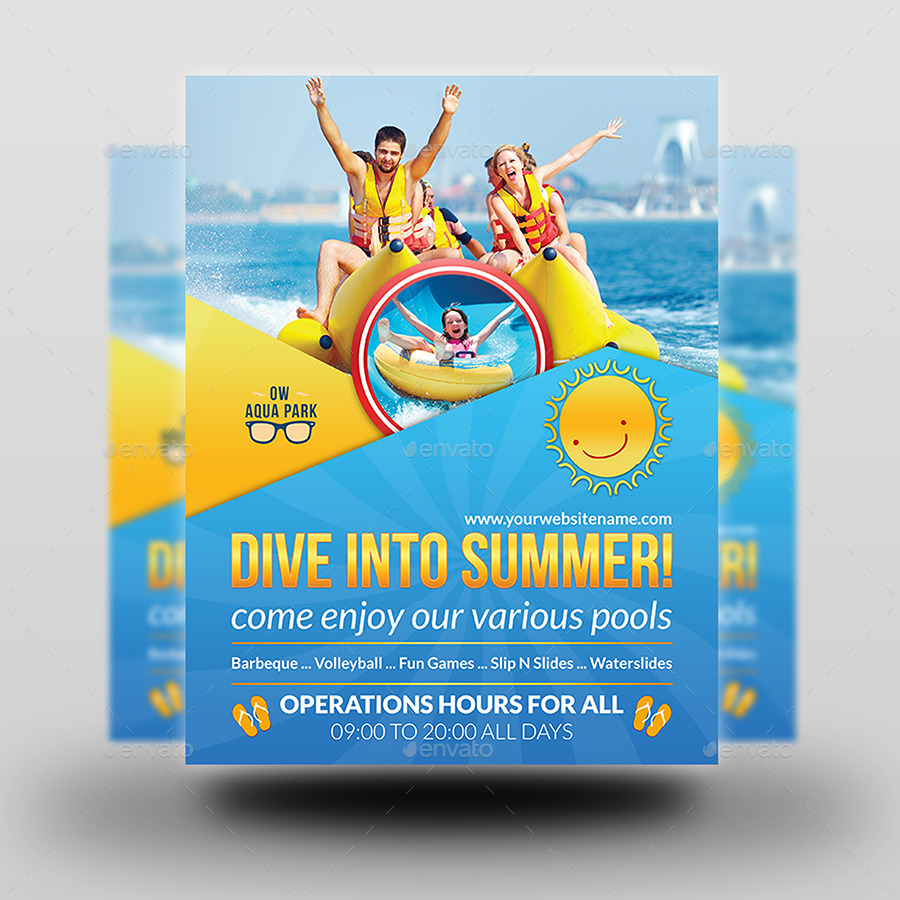 aqua park flyer template by owpictures graphicriver aqua park flyer template