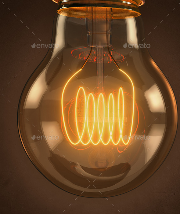 GraphicRiver Illuminated Vintage Hanging Light Bulb 11470769