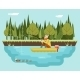 Fisherman With Fishing Rod In Boat Forest - GraphicRiver Item for Sale
