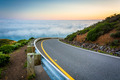 Road and view of fog over the San Francisco Bay, Golden Gate Nat