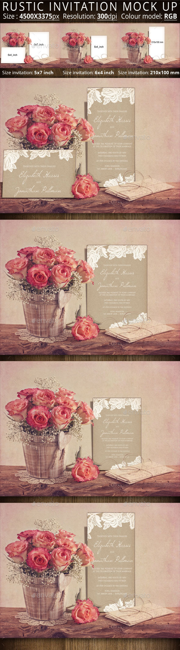 GraphicRiver Rustic Invitation Mock Up 11473429