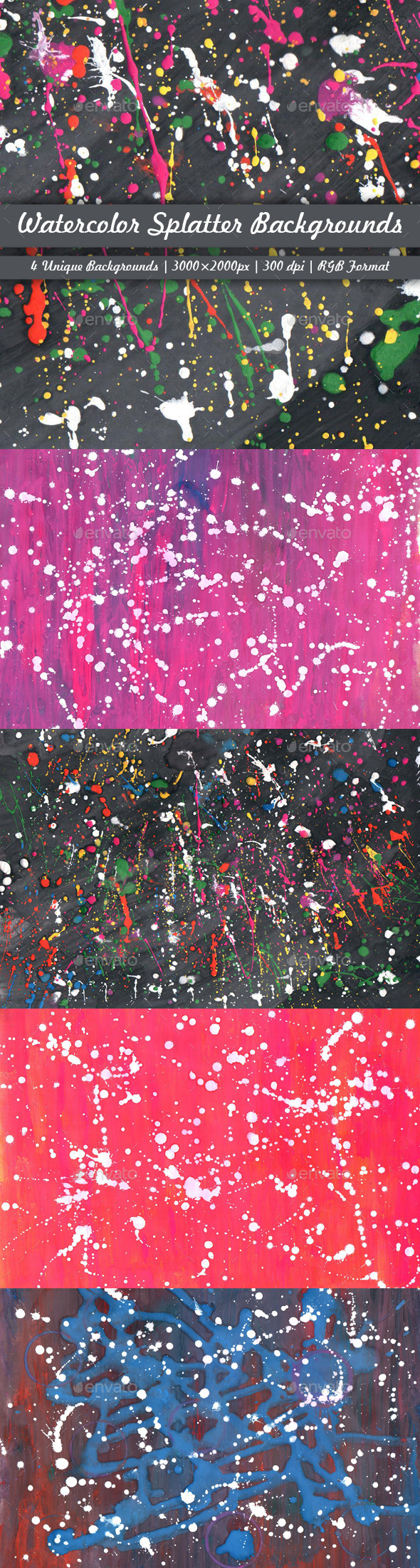GraphicRiver Watercolor Splatter Backgrounds 11473455