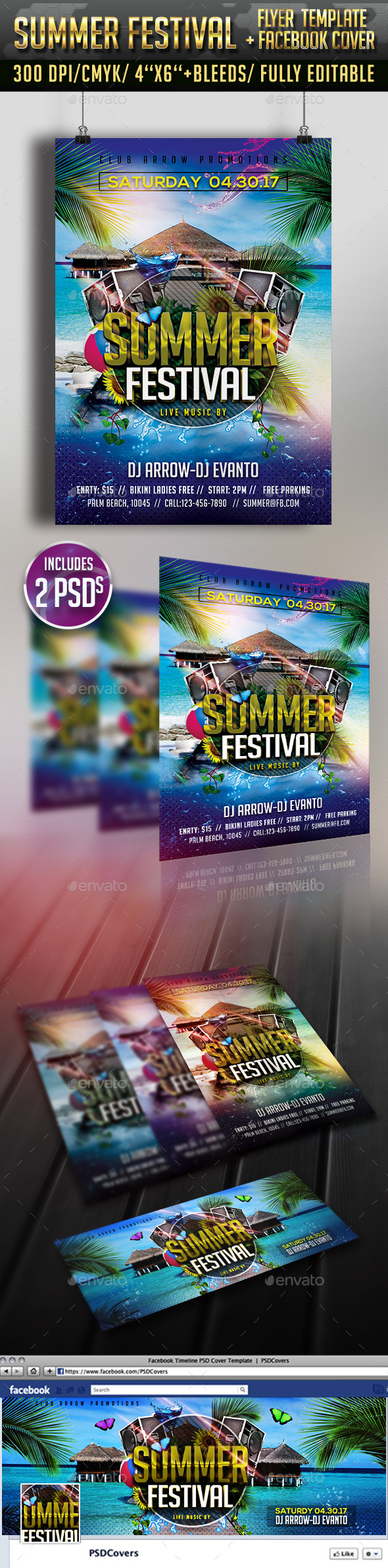 GraphicRiver Summer Festival Flyer & Facebook Timeline Cover 11473518