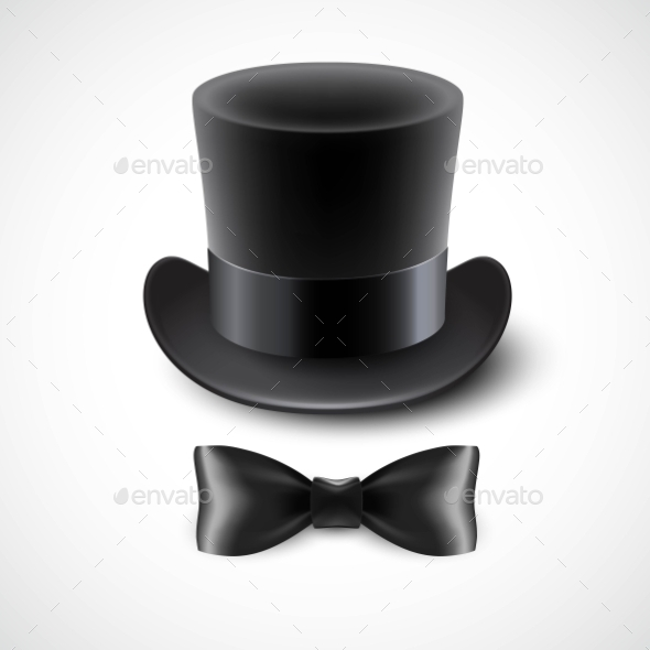GraphicRiver Vintage Top Hat And a Bow Tie Vector Illustration 11473701