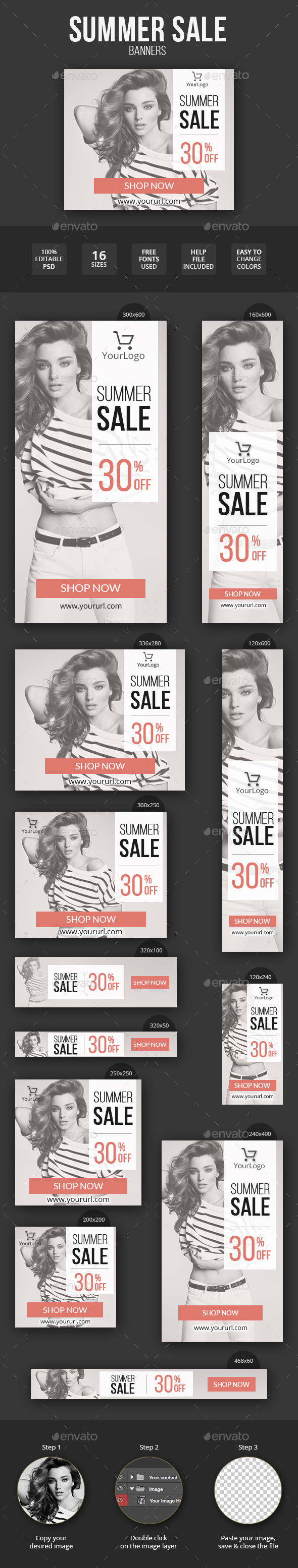 GraphicRiver Summer Sale Fashion Banner Set 11473879