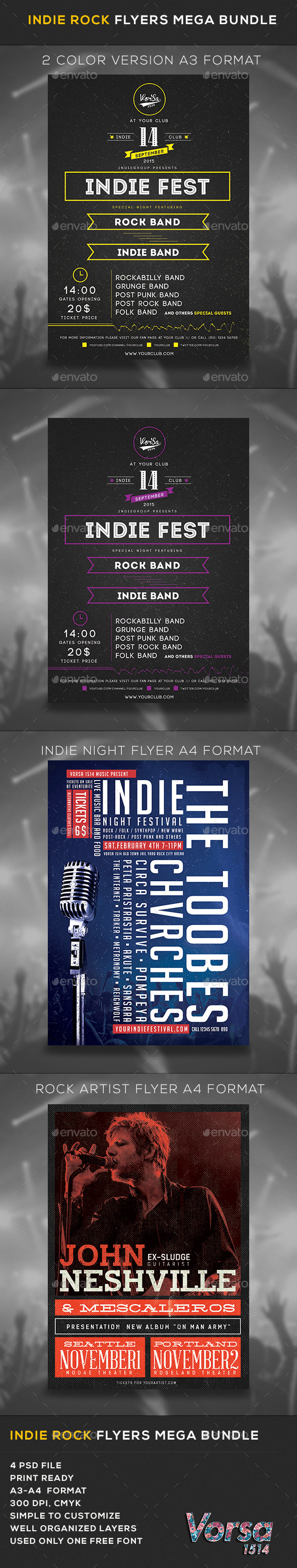 GraphicRiver Indie Rock Flyers Mega Bundle 11474028