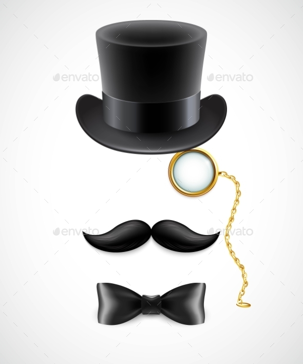 GraphicRiver Vintage Silhouette Of Top Hat Mustaches Monocle 11474071