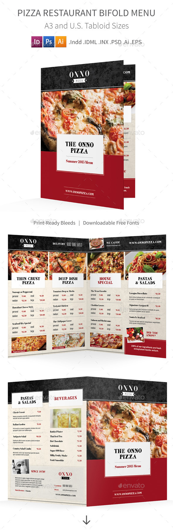 GraphicRiver Pizza Restaurant Bifold Halffold Menu 11474698