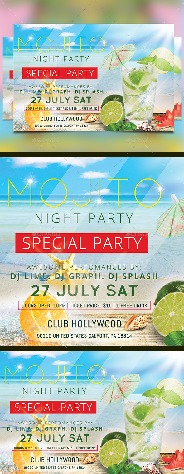 GraphicRiver Mojito Night Part Flyer Template 11475296