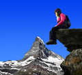 Girl sitting on a rock - PhotoDune Item for Sale