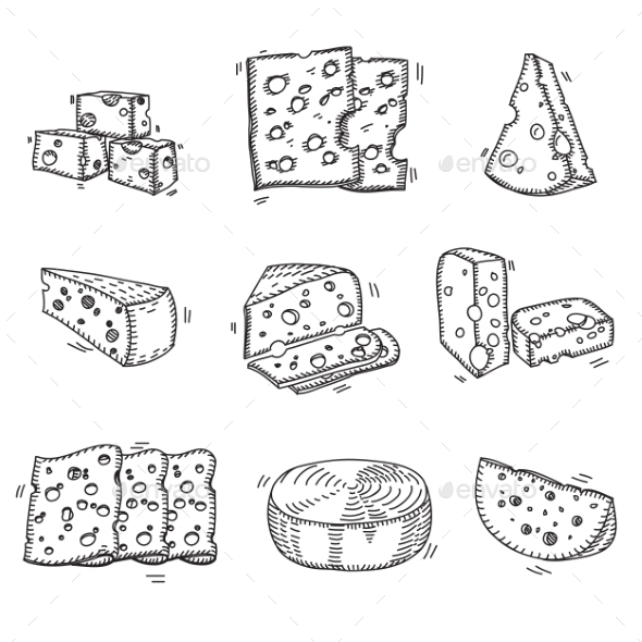 GraphicRiver Hand Drawn Doodle Sketch Cheese With Different 11475549