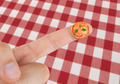 Dish with Pizza margherita in miniature on the finger - PhotoDune Item for Sale