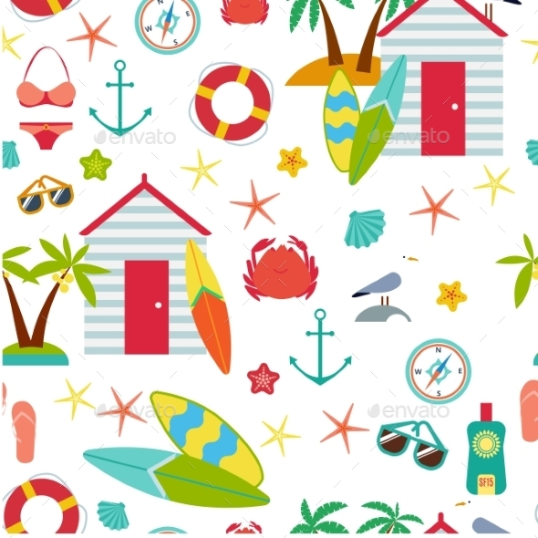 GraphicRiver Seamless Pattern With Flat Travel Icons 11476651