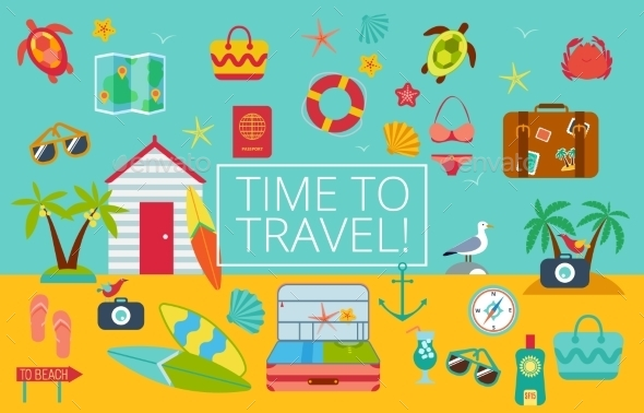 GraphicRiver Flat Icons Set Of Traveling 11476664