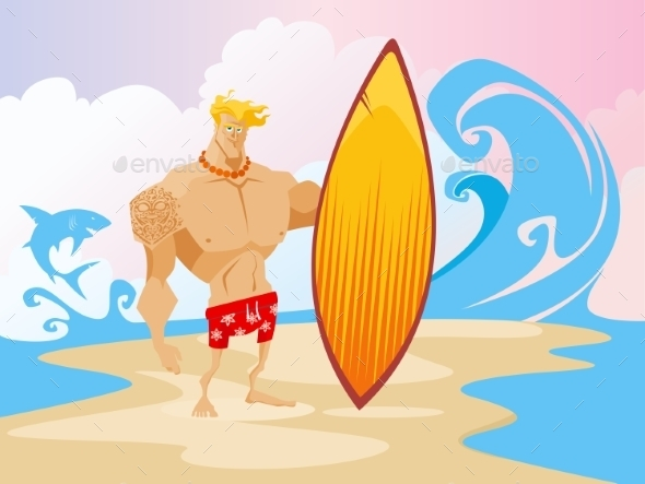GraphicRiver Surfer On The Beach Character 11476823