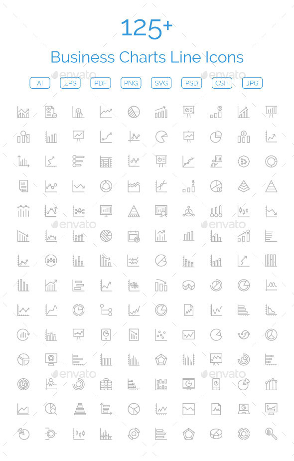 GraphicRiver 125& Business Charts Line Icons 11476969
