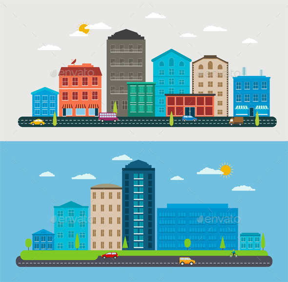 GraphicRiver Flat Design Urban Landscape 11477024
