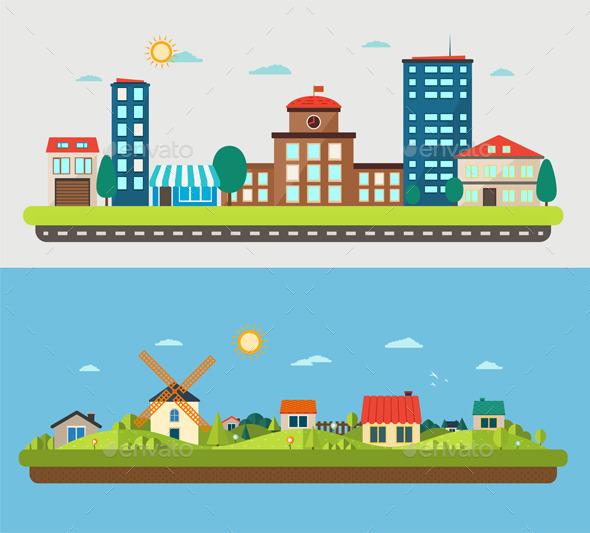 GraphicRiver Urban and Village Landscapes 11477077
