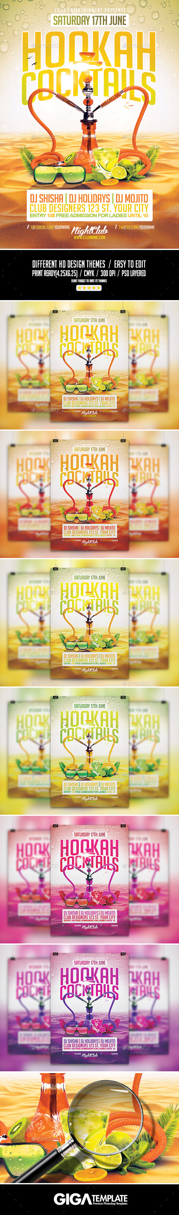GraphicRiver Hookah Cocktails Summer Party PSD Flyer Template 11477085