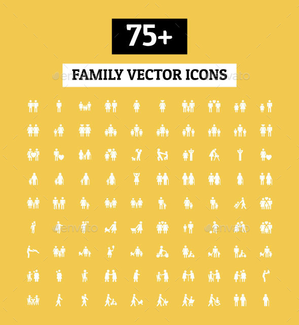 GraphicRiver 75& Family Vector Icons 11477086
