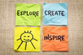 explore, create, inspire and smile reminder - PhotoDune Item for Sale