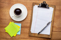 desktop concept - clipboard, sticky notes and coffee - PhotoDune Item for Sale