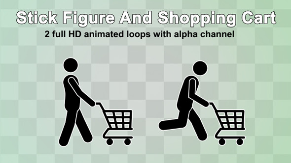 Stick Figure And Shopping Cart