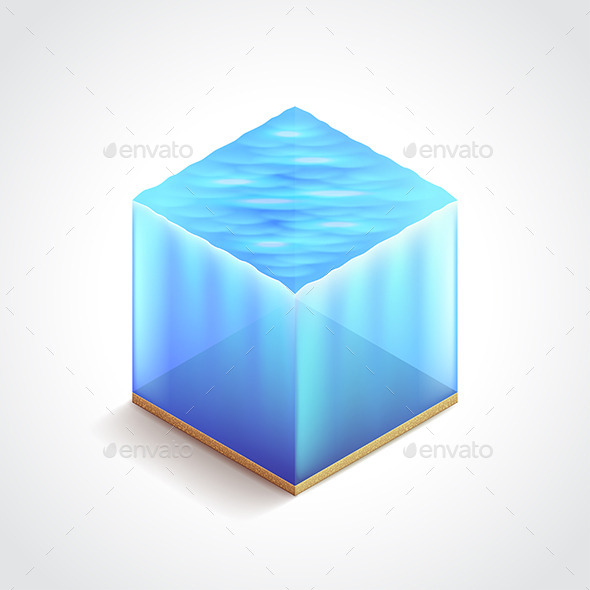 GraphicRiver Isometric Water Cube Vector Illustration 11477677