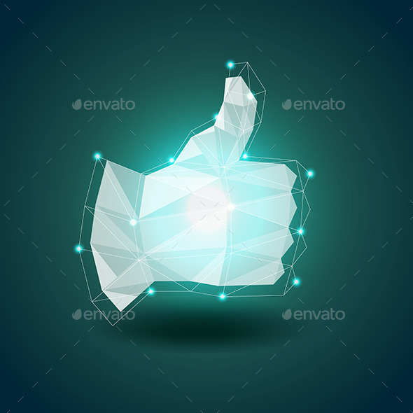 GraphicRiver Luminous Polygonal Hand Thumbs Up Vector 11477684