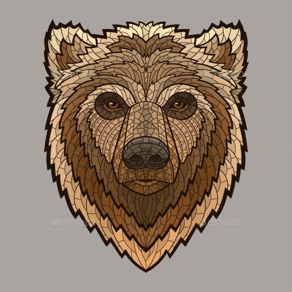 GraphicRiver Bear Head In Mosaic Style 11477945