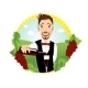 Young Smiling Waiter Pours Red Wine  - GraphicRiver Item for Sale