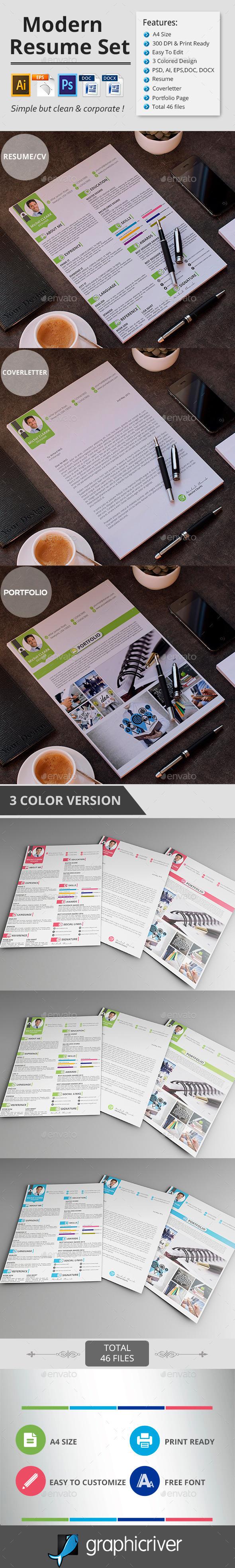 GraphicRiver Modern Resume CV 11415123