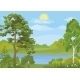 Landscape With Trees, Lake And Sun - GraphicRiver Item for Sale