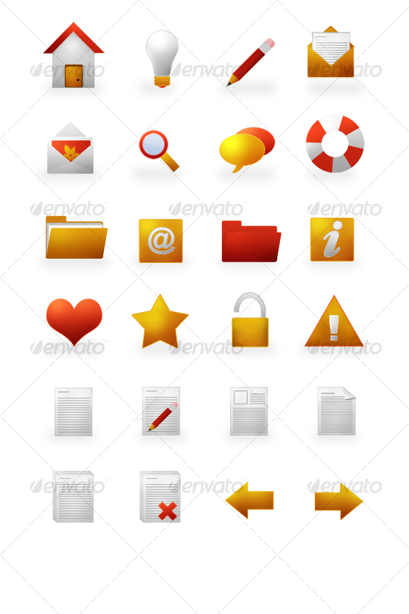 Warm Icons Set - Web Icons
