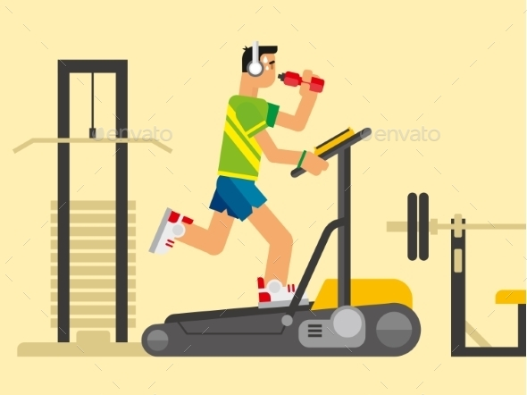 GraphicRiver Athlete Running On a Treadmill 11479982
