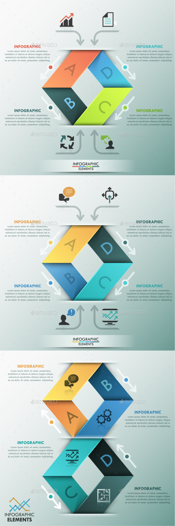 GraphicRiver Modern Infographic Paper Template 3 Items 11480528