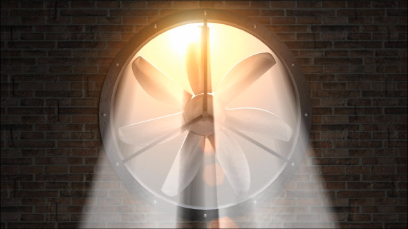 Fan Rotating Front in Sunlight