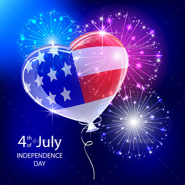 GraphicRiver Independence Day Balloon and Firework 11480905