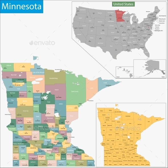 GraphicRiver Minnesota Map 11481003